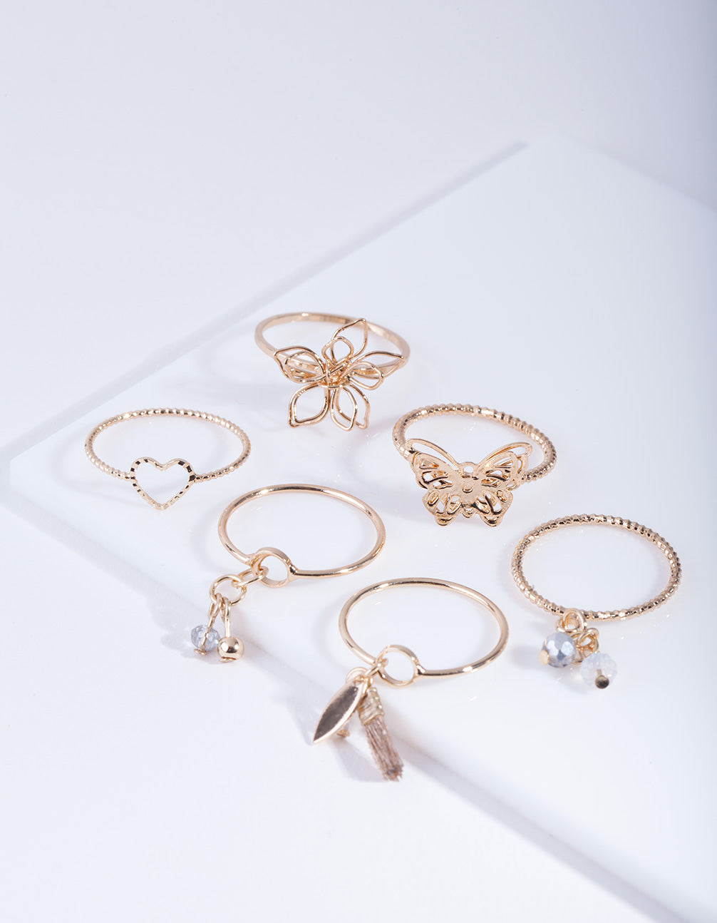 Gold Nature Shapes Ring Pack