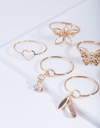 Gold Nature Shapes Ring Pack - link has visual effect only
