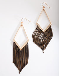 Gold Black Chain Tassel Earring