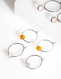 Silver Mini Stone Hoop Earring Pack - link has visual effect only