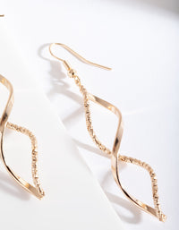 Gold Textured Twist Earring