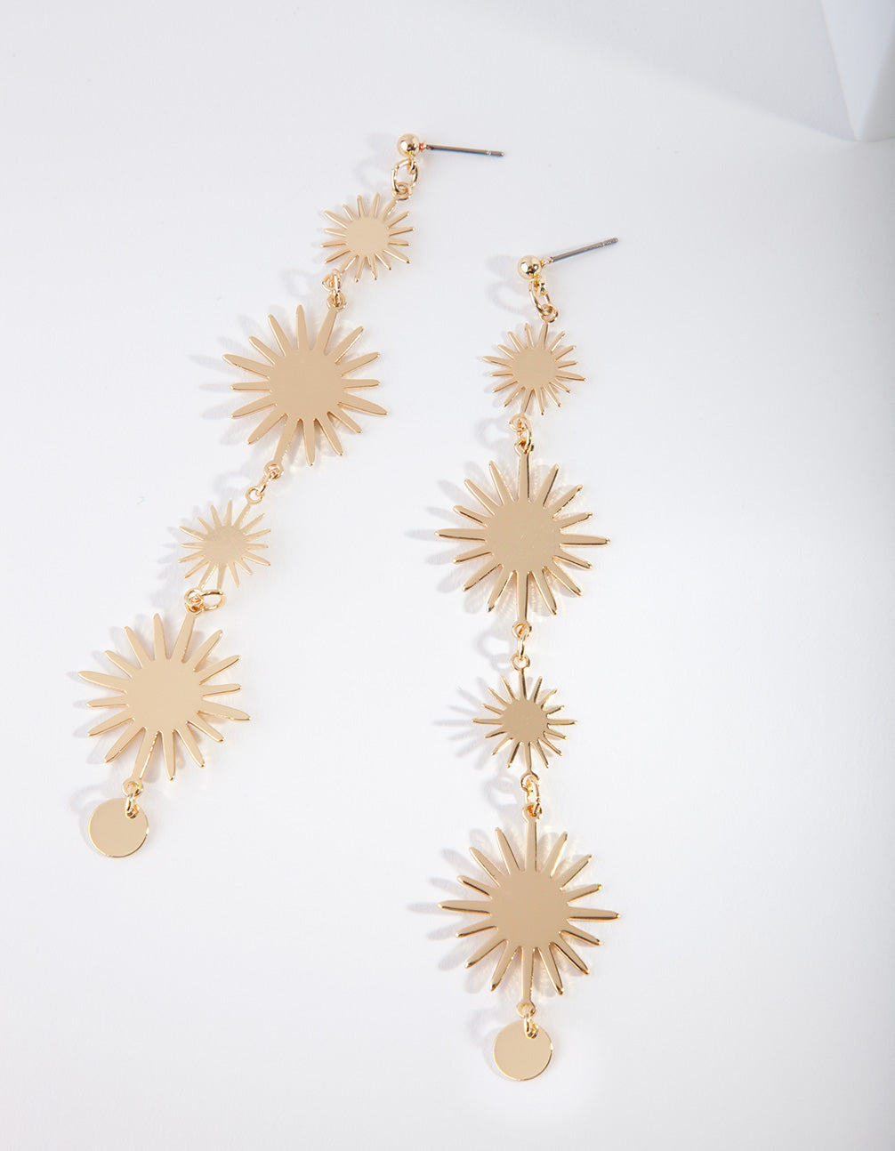 Gold Celestial Sun Drop Earring