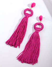 Pink Statement Tassel Earring - link has visual effect only