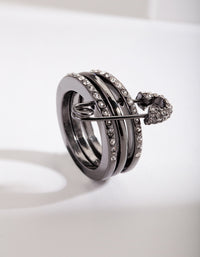 Gunmetal Safety Pin Ring Stack - link has visual effect only