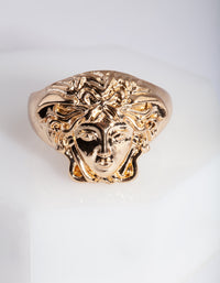 Gold Medusa Signet Ring - link has visual effect only