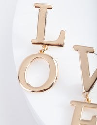 "Gold ""LOVE"" Split Drop Earring"