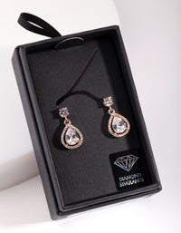 Encircled Mini Diamond Simulant Pear Drop Earring - link has visual effect only