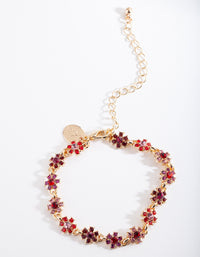 Gold Red Gem Floral Bracelet - link has visual effect only