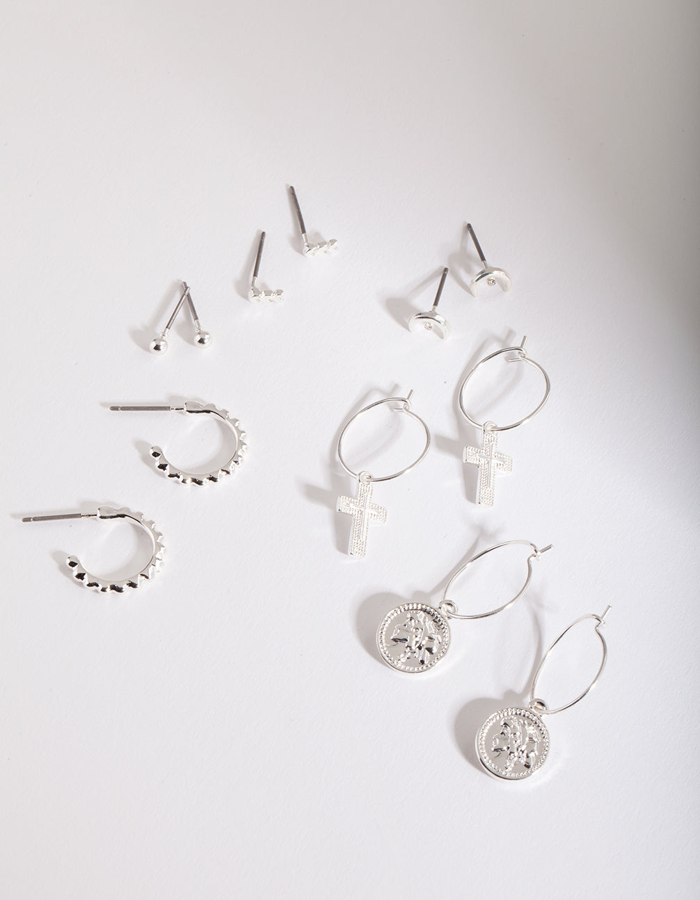 Silver Mixed Medallion Earring 6 Pack