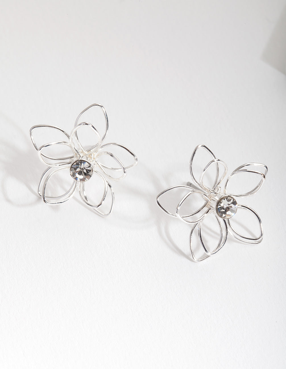Silver Dainty Diamante Flower Earring