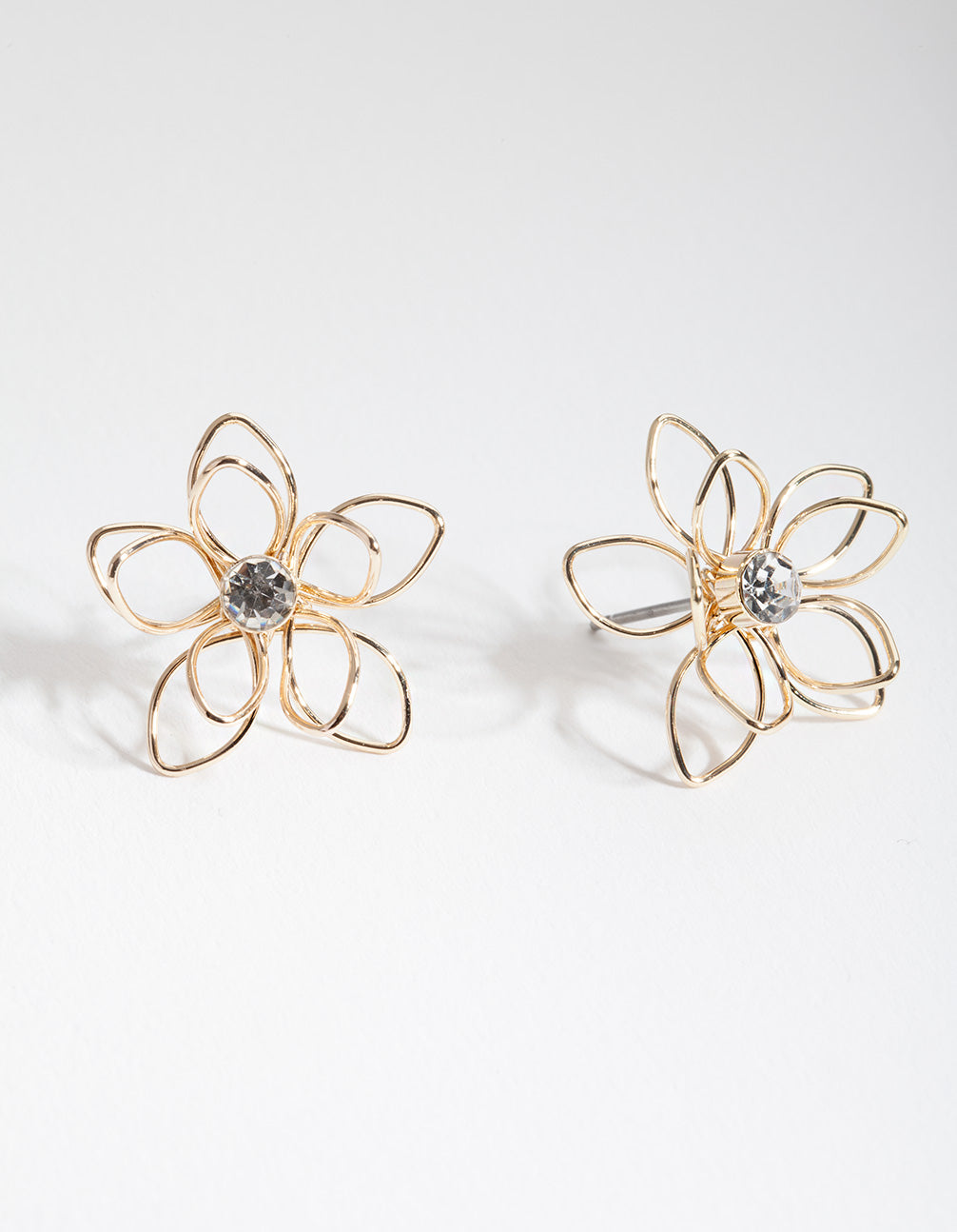 Gold Dainty Diamante Flower Earring