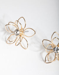 Gold Dainty Diamante Flower Earring - link has visual effect only