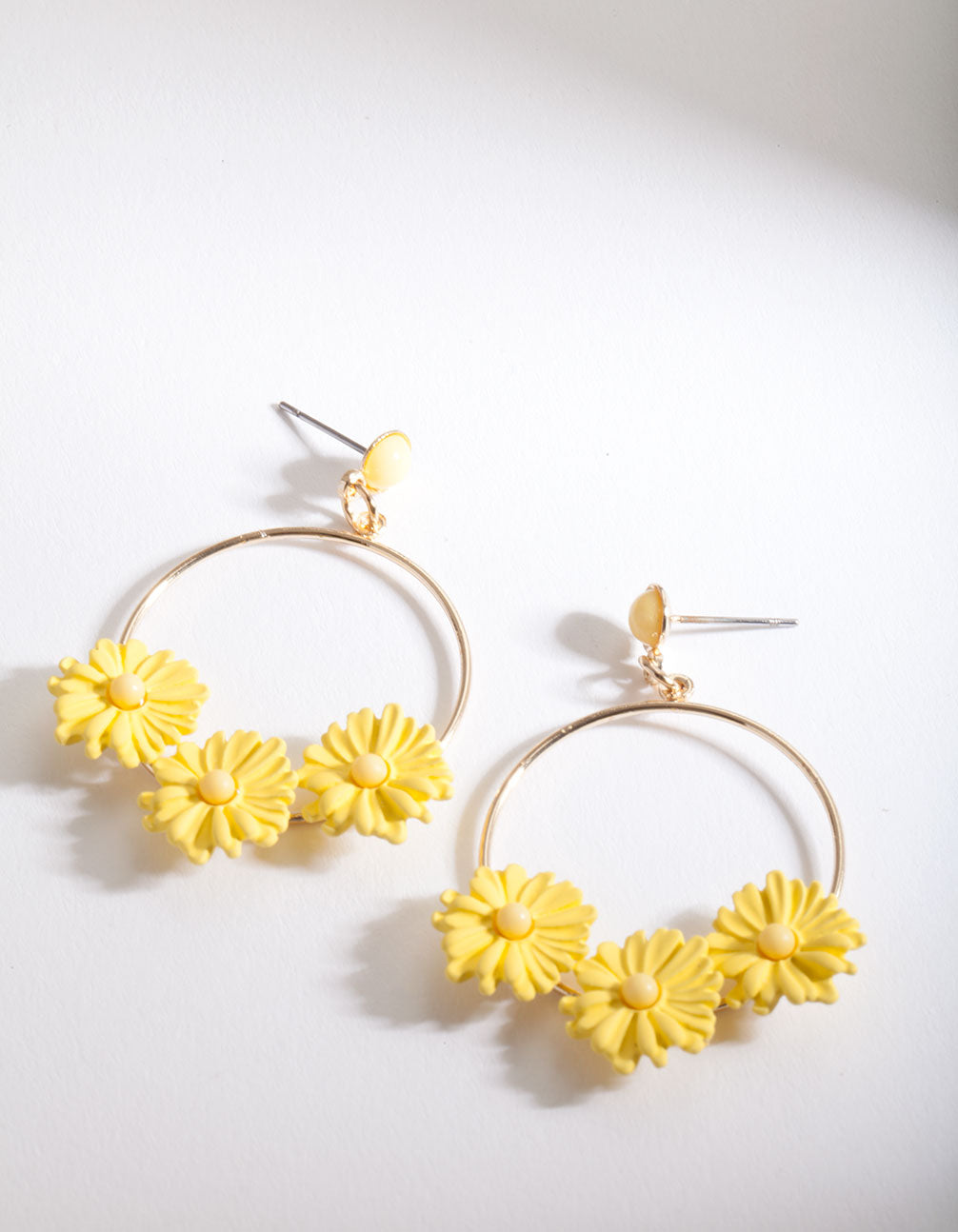 Yellow Daisy Hoop Drop Earring