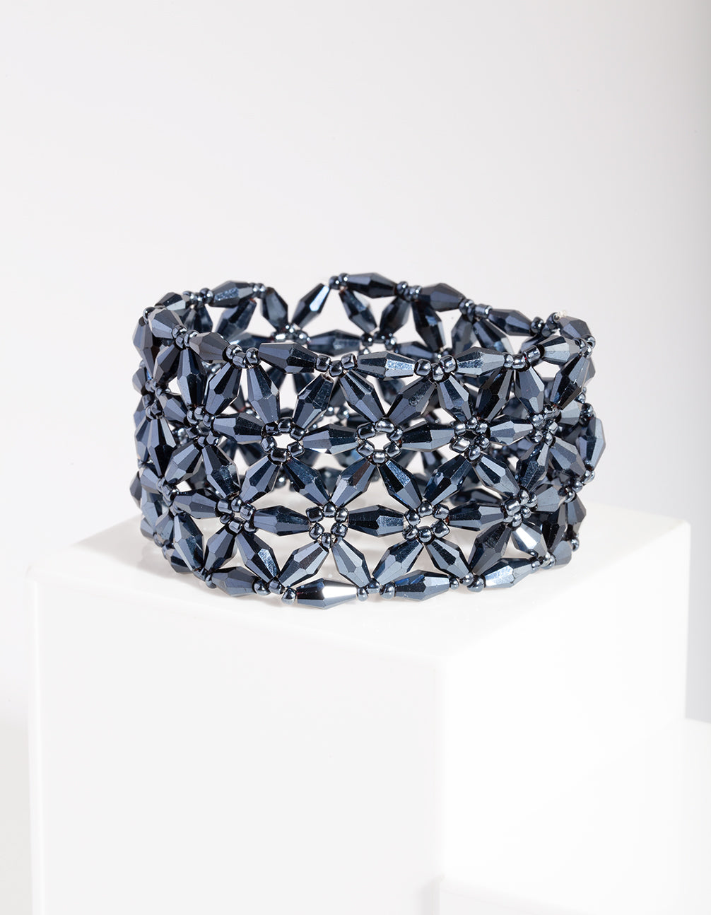 Blue Facet Flower Bracelet