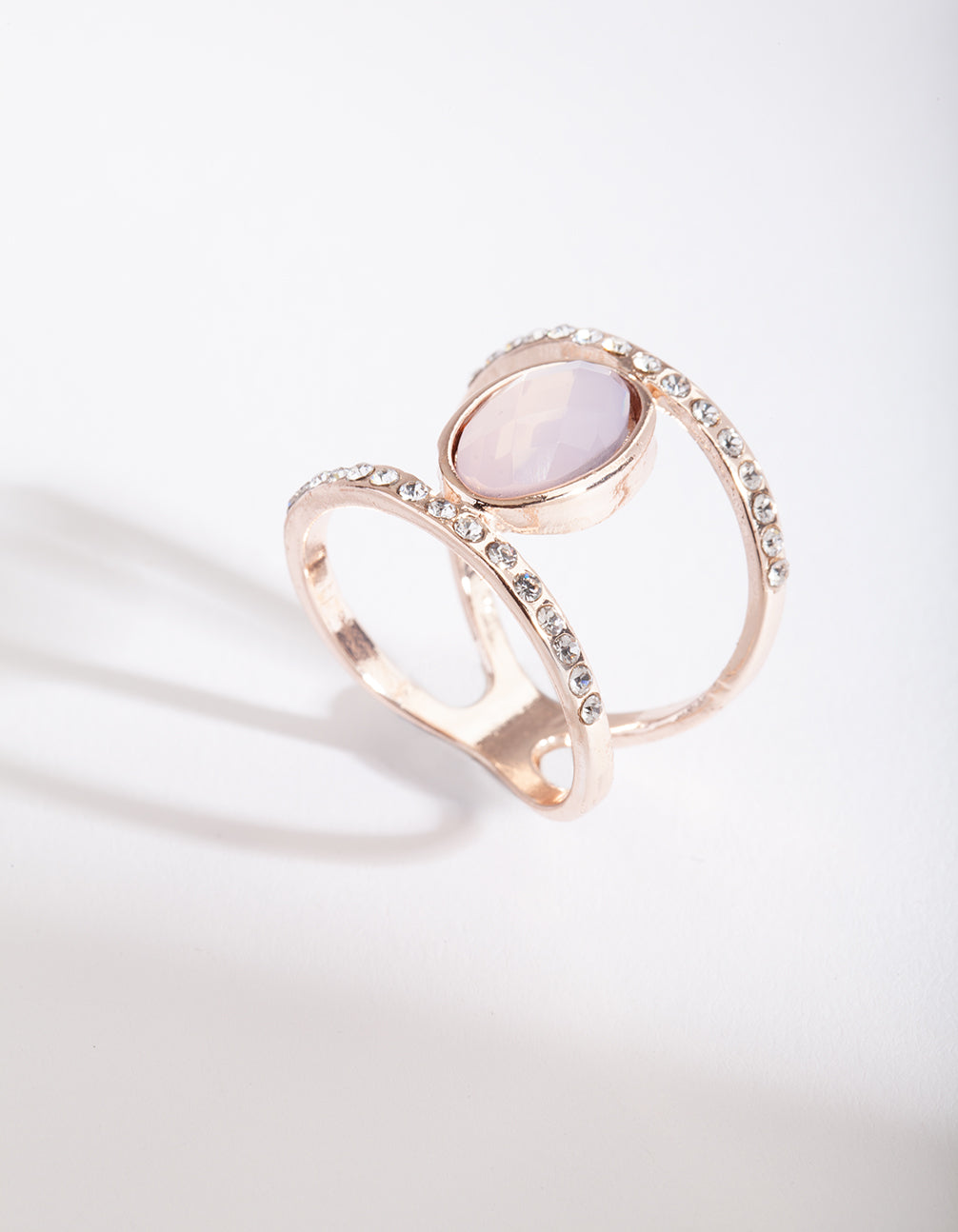Rose Gold Pink Stone Double Ring