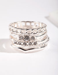 Silver Diamante & Chain 5 Stack Ring - link has visual effect only