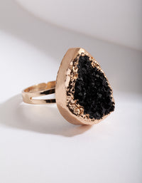Black Gold Textured Stone Ring