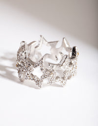 Rhodium Diamante Star Ring - link has visual effect only