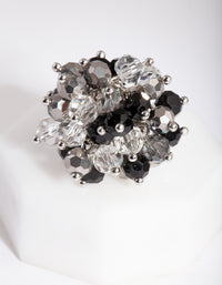 Black Silver Beaded Ring