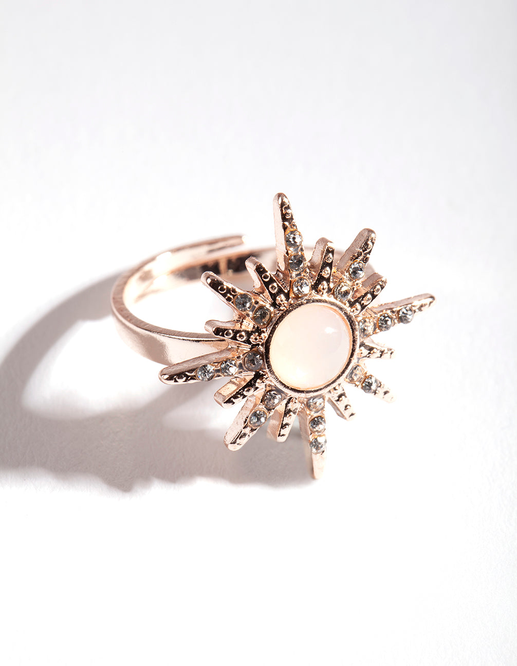 Rose Gold Synthetic Opal Diamante Burst Ring