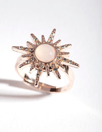 Rose Gold Synthetic Opal Diamante Burst Ring - link has visual effect only