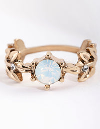 Antique Gold Opal Leaf Wrap Ring