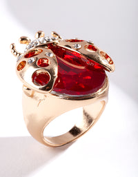Large Stone Ladybug Ring - link has visual effect only