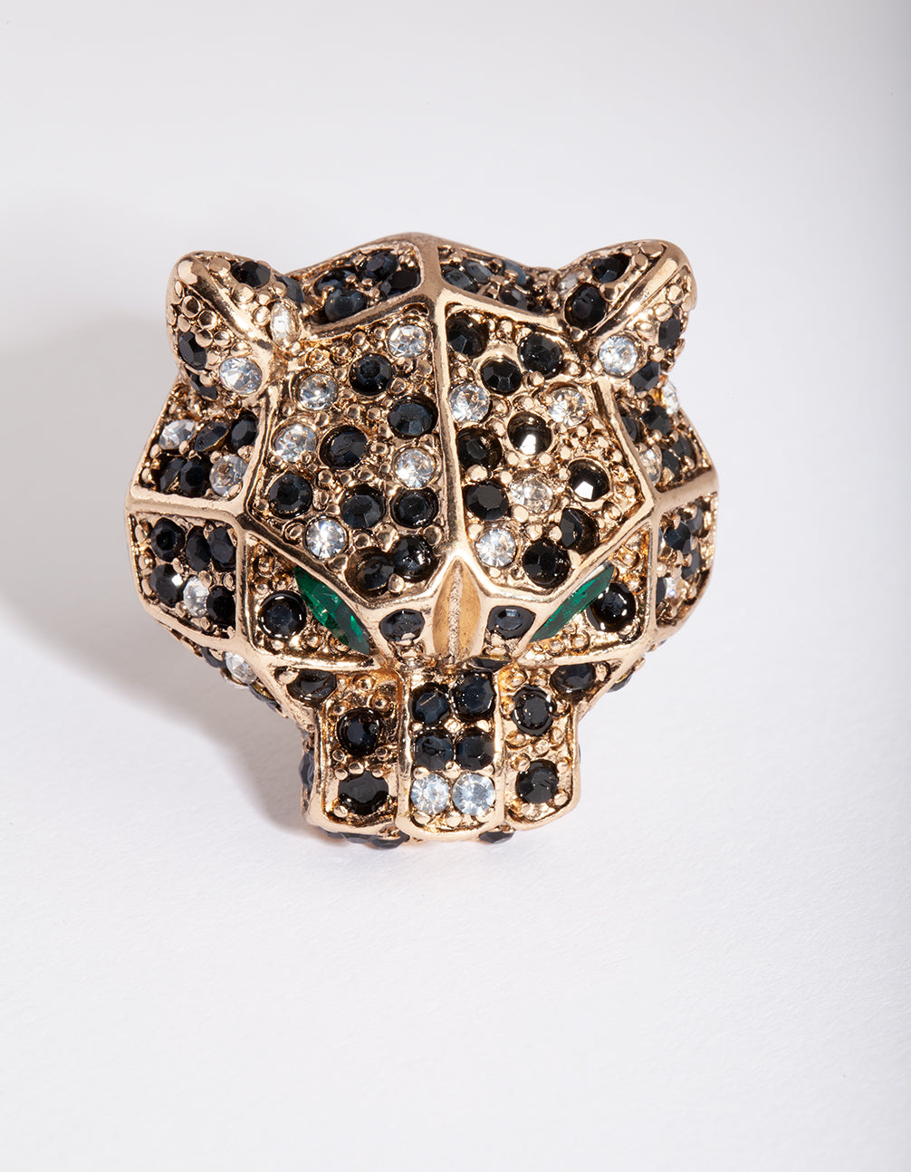 Antique Gold Green Diamante Leopard Ring