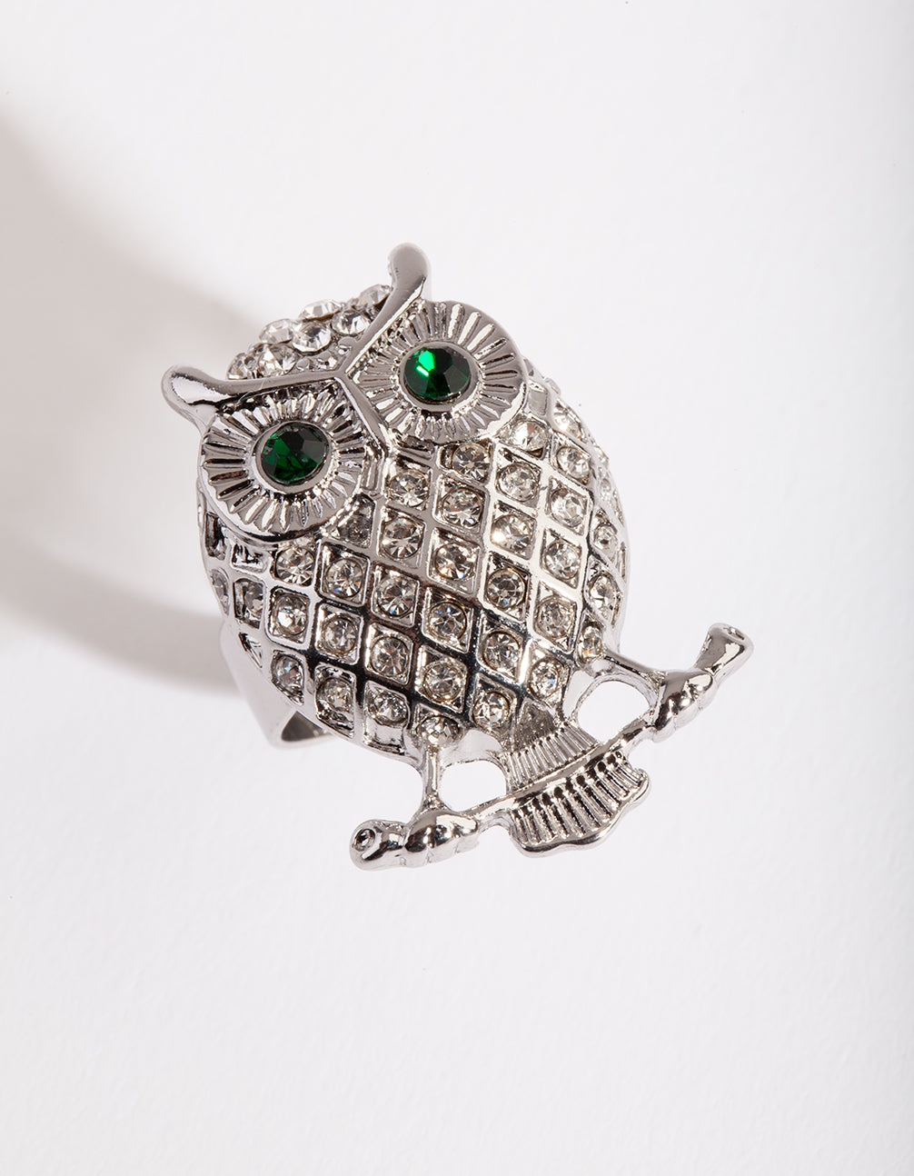 Rhodium Bling Owl Ring