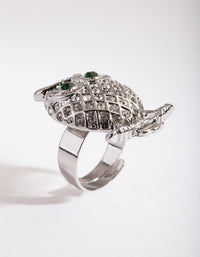 Rhodium Bling Owl Ring - link has visual effect only