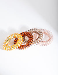 Neutral Toned Spiral Hair Tie 4 Pack