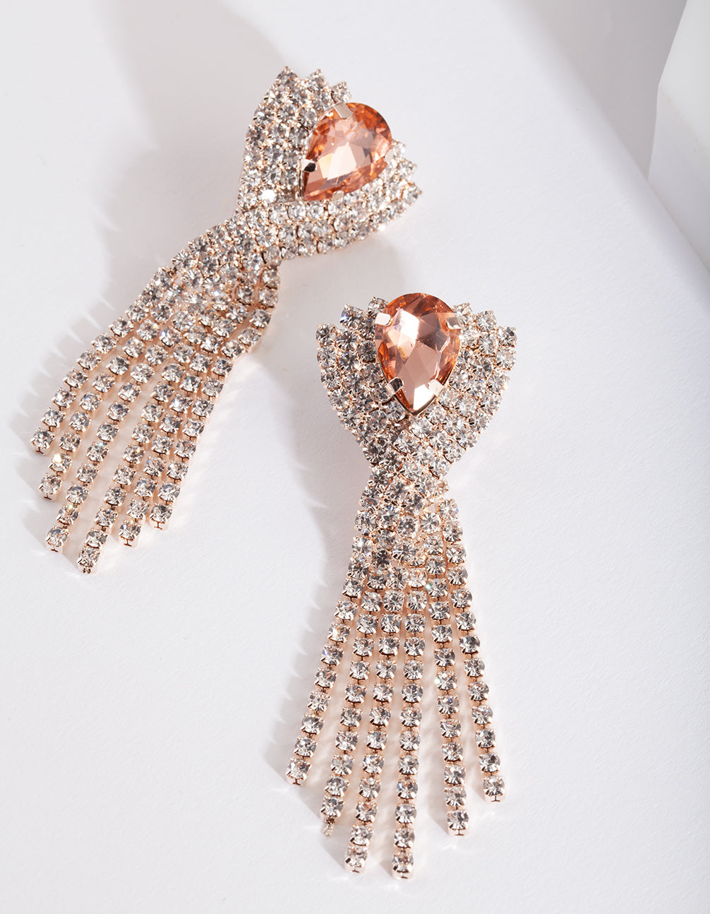 Rose Gold Pink Diamante Earring