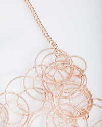 Rose Gold Textured Linked Necklace - link has visual effect only