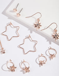 Rose Gold Star Earring Pack - link has visual effect only
