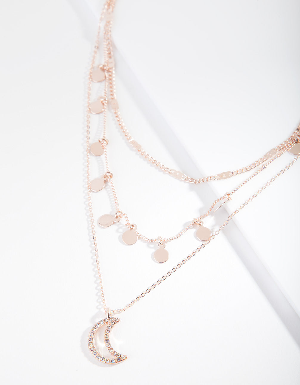 Rose Gold Moon Charm Layered Choker