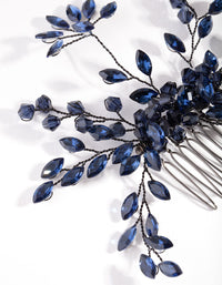 Blue Gunmetal Floral Gem Comb - link has visual effect only