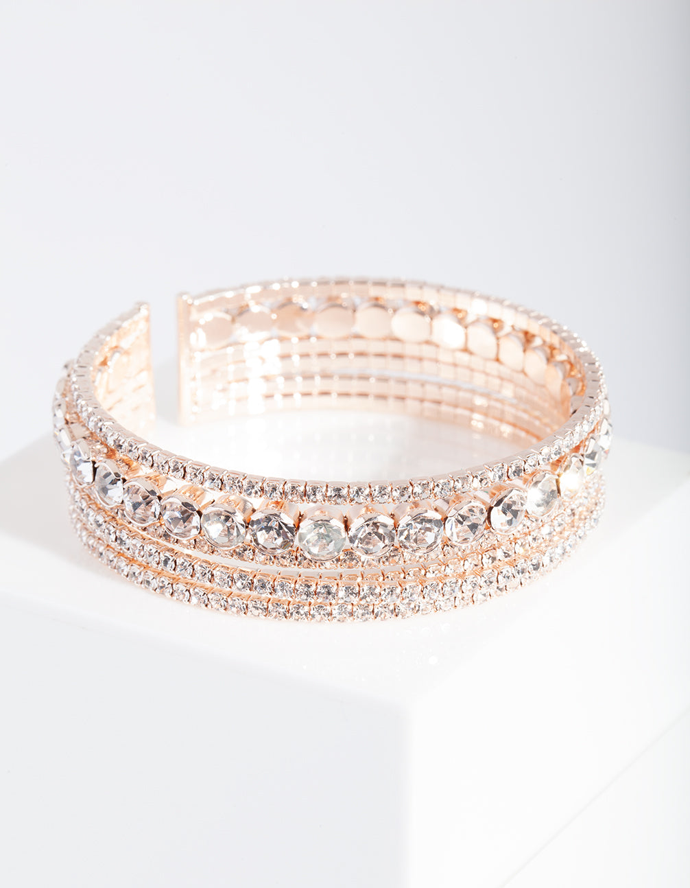 Rose Gold Multi Diamante Arm Cuff