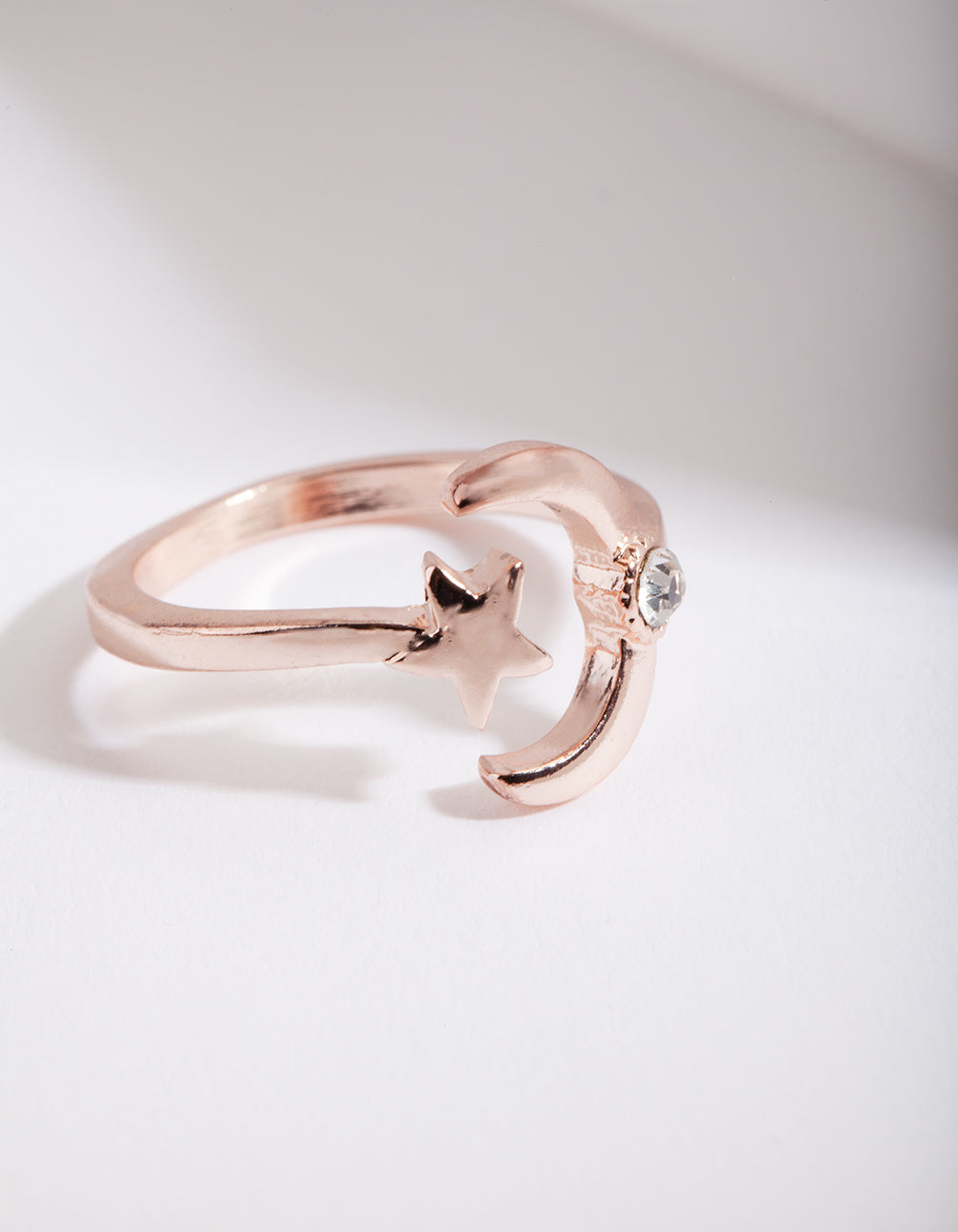Rose Gold Open Moon Star Ring