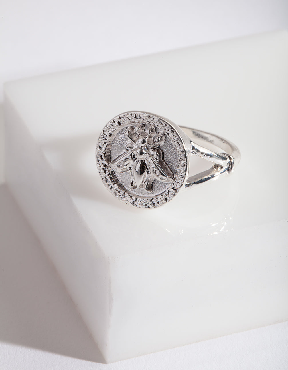 Silver Bee Coin Ring