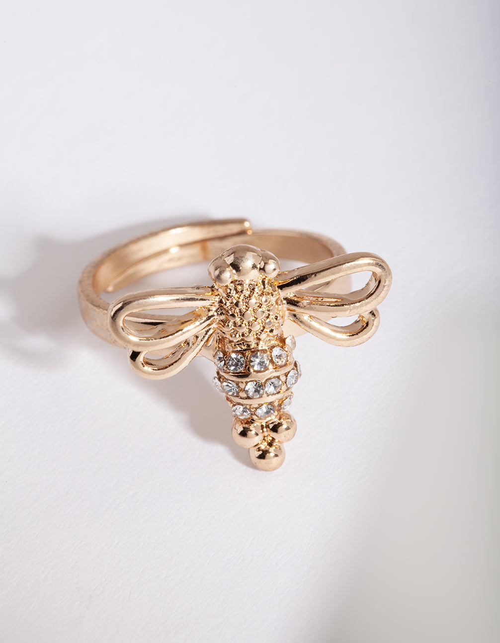 Gold Open Wing Bee Ring