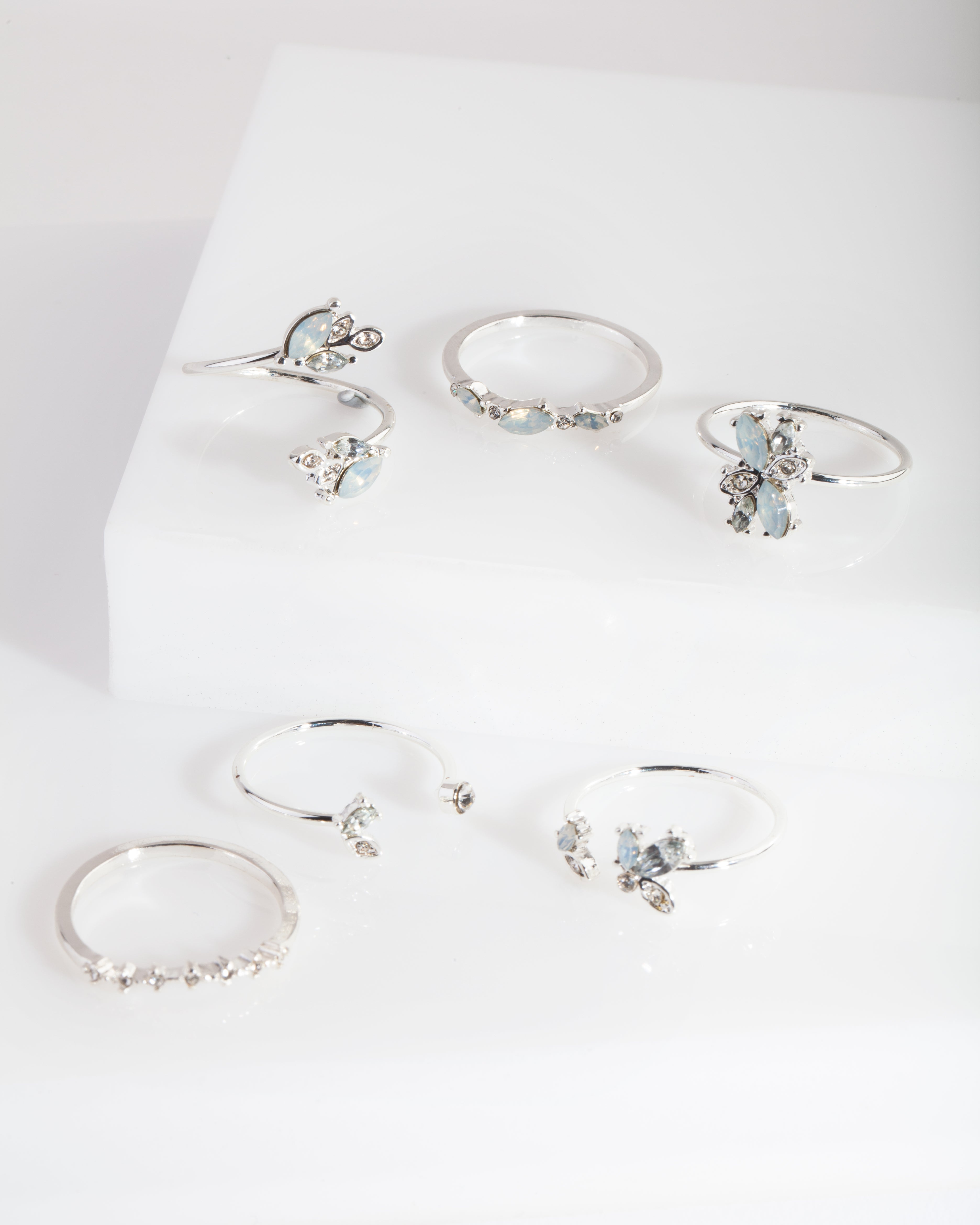 Silver Gem Diamante Ring Pack
