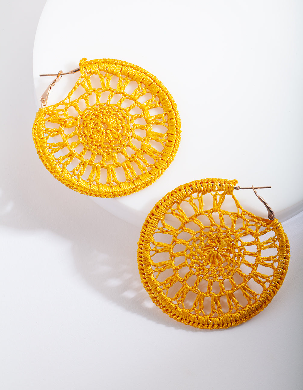 Yellow Crochet Hoop Earring