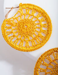 Yellow Crochet Hoop Earring - link has visual effect only