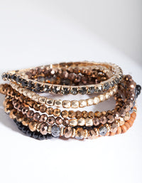 Brown Beads and Wood Stretch 7pk Bracelets