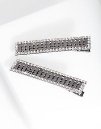 Gunmetal Mesh Diamante Hair Clip 2 Pack