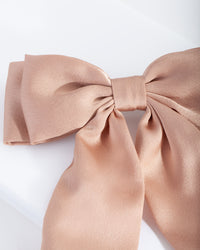 Brown Satin Bow Hair Clip - link has visual effect only
