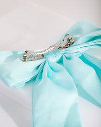 Aqua Satin Bow Hair Clip - link has visual effect only