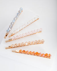 Multi Blush Bead Hair Clip Pack - link has visual effect only