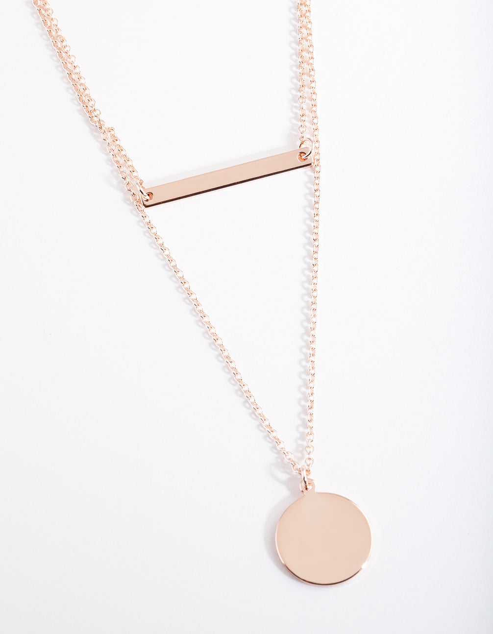 Rose Gold Bar Disc Layered Necklace