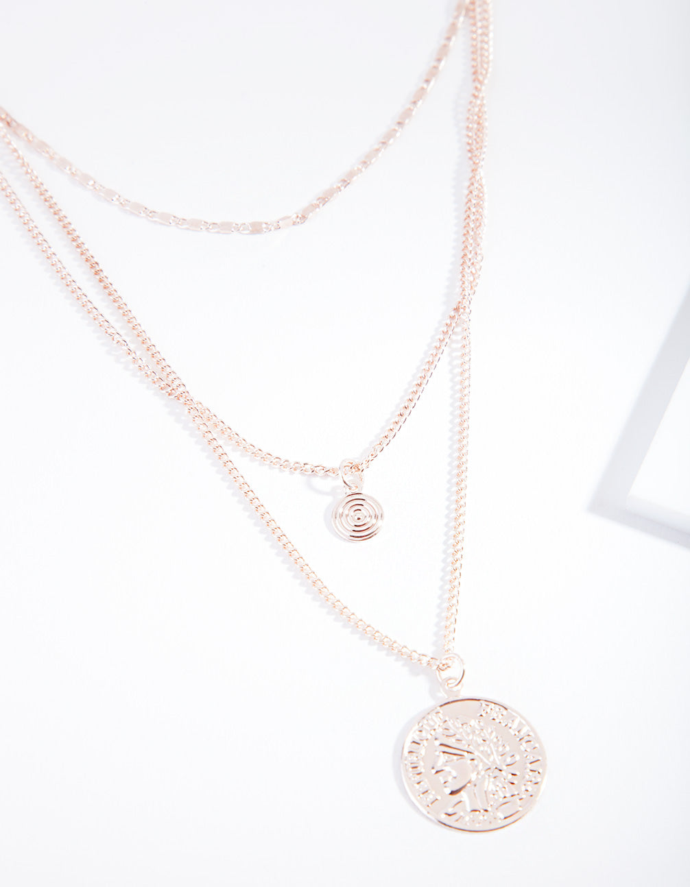 Rose Gold Disc Multi-Layer Necklace